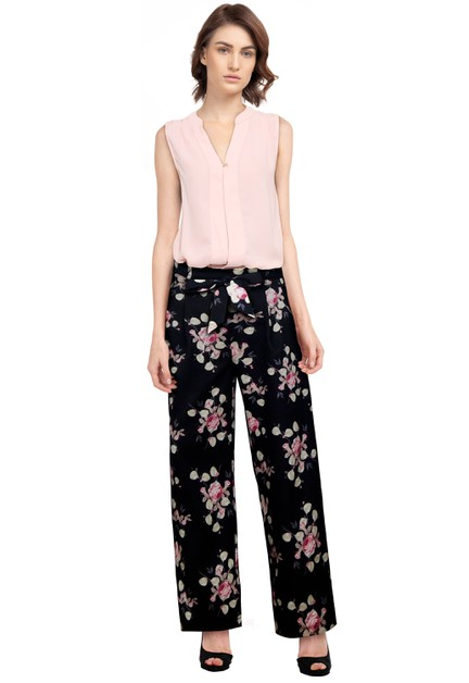 Black/Floral Tie Retro Pants - orangeshine.com