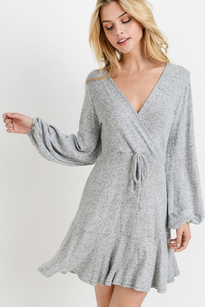 Brushed Hatchi Long Sleeves Dress - orangeshine.com