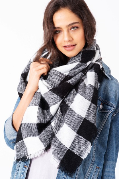Buffalo Check Pattern Blanket Scarf - orangeshine.com