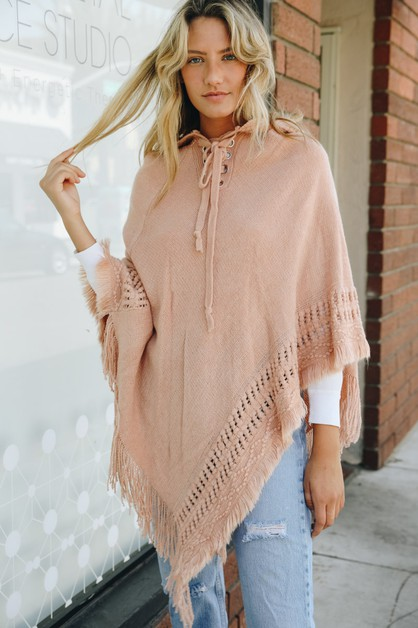Lace Up Knit Poncho with Hood - orangeshine.com