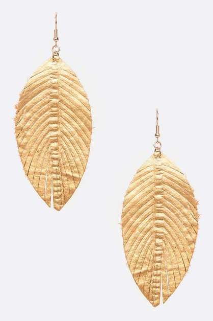 Embossed Cutout Leather Earrings - orangeshine.com