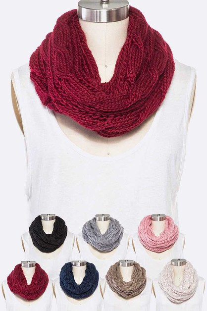 Chunky Knit Cable Infinity Scarf Set - orangeshine.com