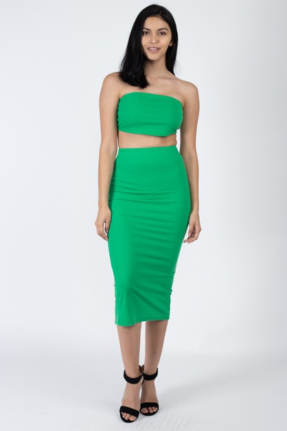 Tube Top and Midi Skirt Sets - orangeshine.com