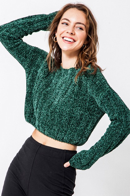 CROPPED CHENILLE BOXY SWEATER - orangeshine.com