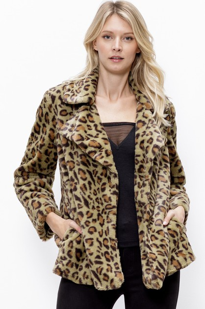 LEOPARD COLLARED FUR JACKET - orangeshine.com