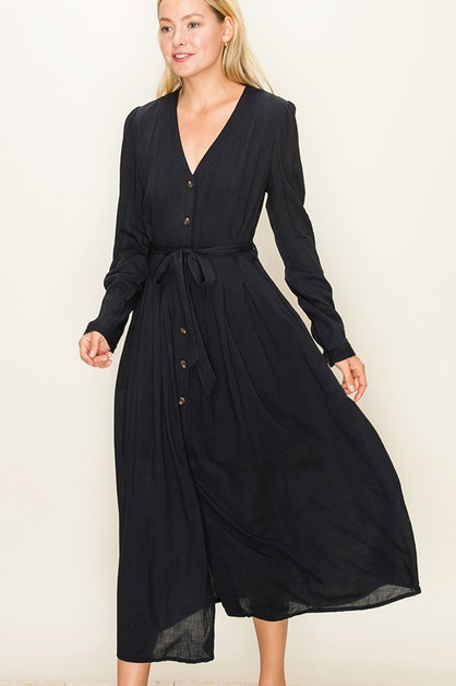 LONG SLEEVE BUTTON FRONT MAXI DRESS - orangeshine.com
