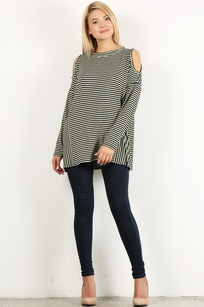 stripe open sleeve round top - orangeshine.com