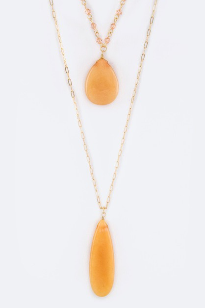 Precious Stone Teardrops Necklace - orangeshine.com