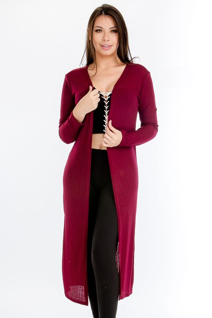 Plus Size Ribbed Longline Cardigan - orangeshine.com