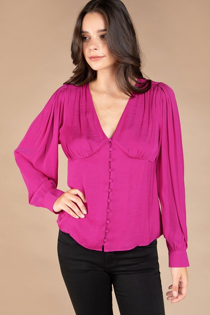 V NECK BUTTON LONG SLEEVE BLOUSE - orangeshine.com