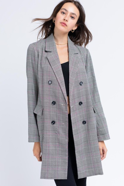 Hello Beautiful Plaid Coat - orangeshine.com