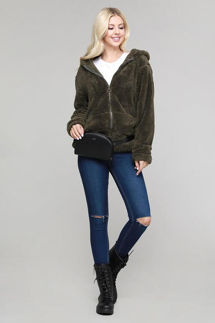 Faux Fur Teddy Bear Zip Up Hoodie Ja - orangeshine.com