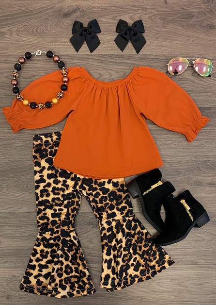 Burnt Orange Cheetah Bell Bottom Set - orangeshine.com