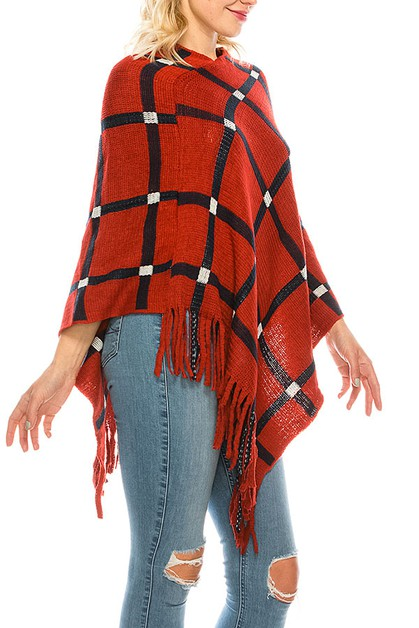 SQUARE PATTERN FRINGE END PONCHO  - orangeshine.com