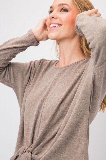 HACCI KNIT LONG SLEEVE TOP WITH FRON - orangeshine.com