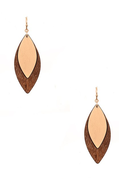 WOODED MARQUISE LINK DROPE EARRING - orangeshine.com