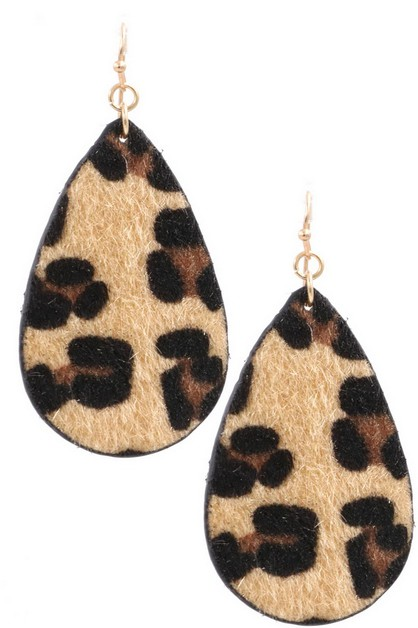 Faux Fur Teardrop Earrings - orangeshine.com