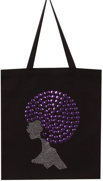 New Purple Pompom Hair Afro Tote - orangeshine.com
