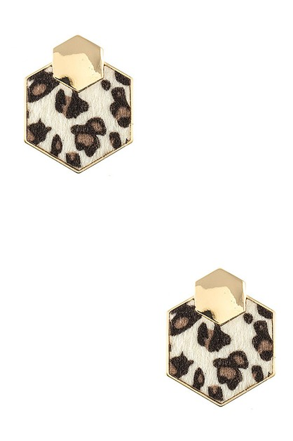 MIX PRINT HEXAGON POST EARRING - orangeshine.com