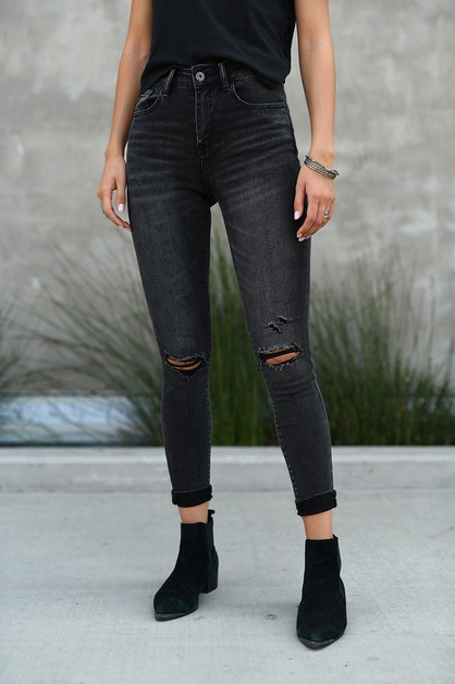 HW KNEE DISTRESSED ANKLE SKINNY - orangeshine.com