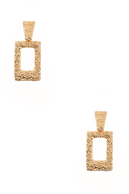 TEXTURED RECTANGLE DANGLE EARRING - orangeshine.com