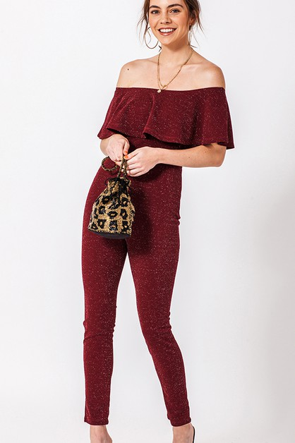 OFF THE SHOULDER SPARKLE JUMPSUIT - orangeshine.com