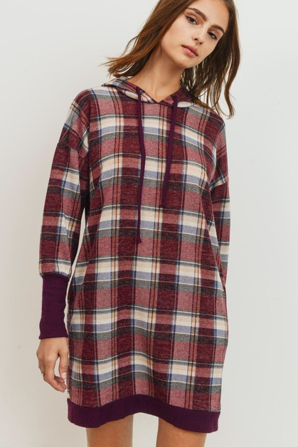 Brushed Check  Knit Hoodie Tunic - orangeshine.com