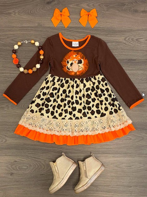 Cheetah Turkey Applique Dress - orangeshine.com