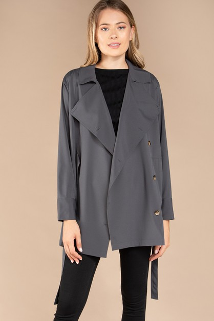 LONG SLEEVE TRENCH BLOUSE - orangeshine.com