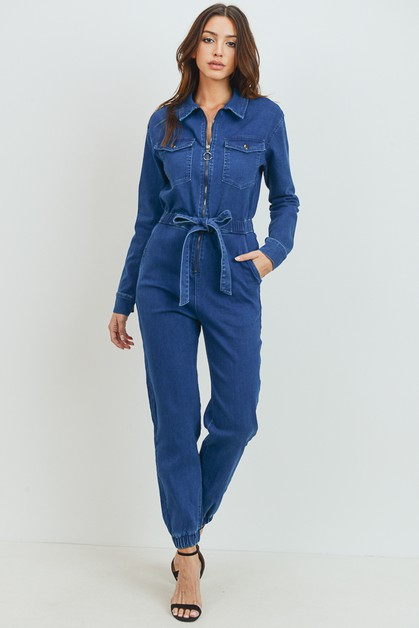 Self Waist Tie Jumpsuit - orangeshine.com