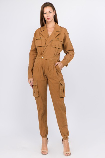 DENIM JUMPSUIT WITH CARGO POCKETS - orangeshine.com