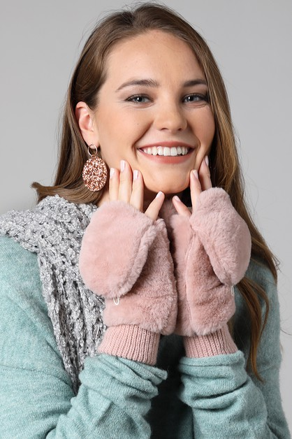 Faux Fur Pop-Top Mitten - orangeshine.com