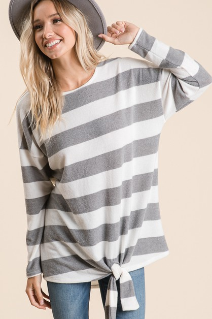 Striped Long Sleeve Tunic Top - orangeshine.com