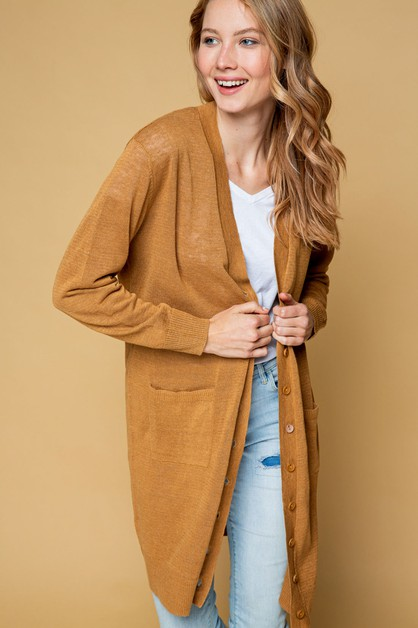 Linen Button Down Pockets Cardigan - orangeshine.com