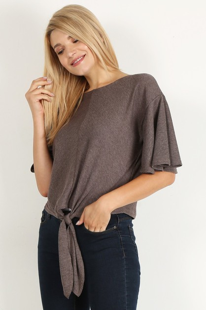 short flutter tied hem round top - orangeshine.com