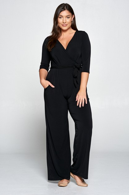 New 34 Sleeve Knit Solid Jumpsuit - orangeshine.com
