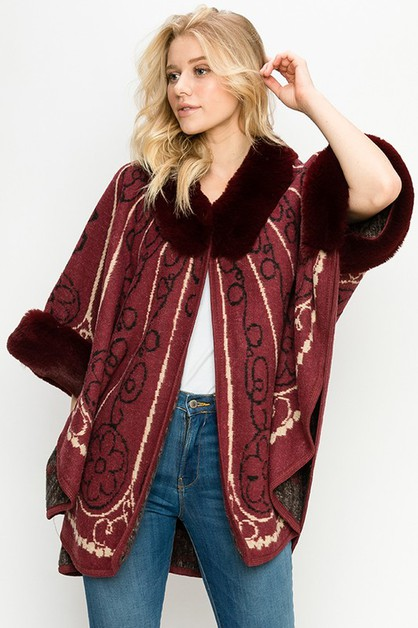 FAUX FUR TRIM PRINTED PONCHO - orangeshine.com