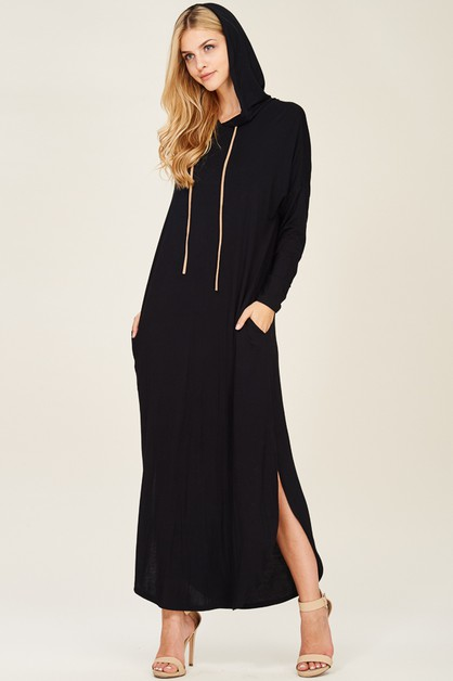 HOODED MAXI DRESS WITH SUEDE STRAP - orangeshine.com