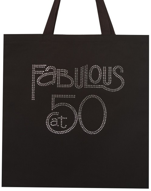 Fabulous at 50 Clear Rhinestone Tote - orangeshine.com