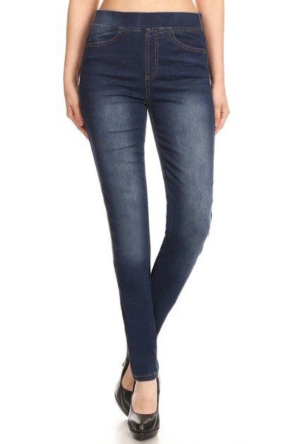 Solid Skinny Denim Jeans Jeggings  - orangeshine.com