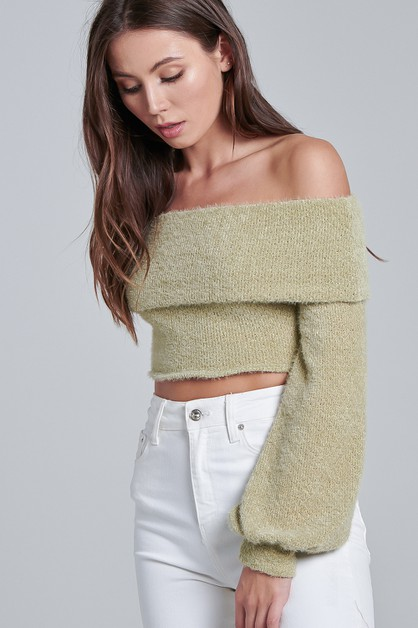 FUZZY CROP SWEATER  - orangeshine.com