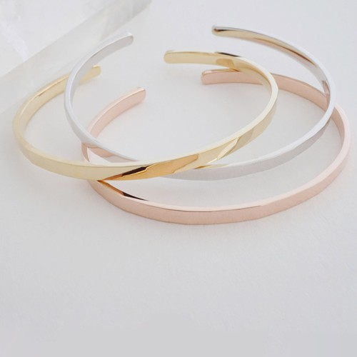 Thin Cuff Bangle Hammered Bracelet - orangeshine.com