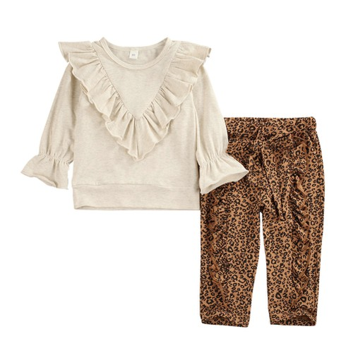 Ruffle top with leopard pants - orangeshine.com