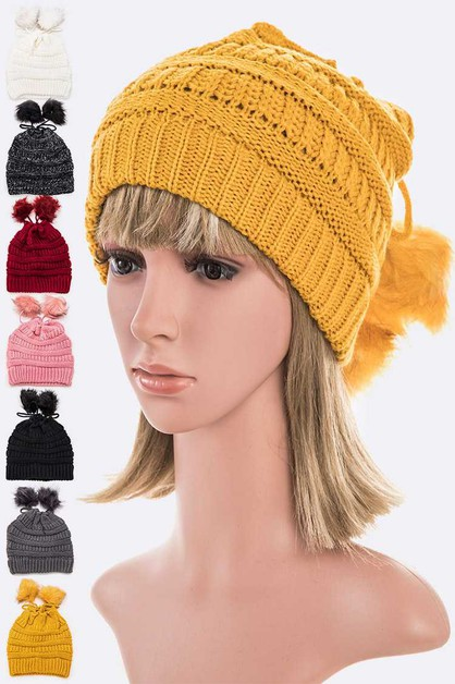 Double Pom Ponytail Beanie Set - orangeshine.com