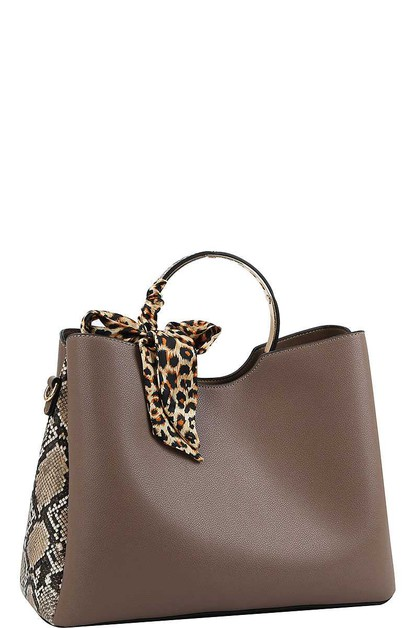 TWO TONE AND SILKY SCARF SATCHEL - orangeshine.com