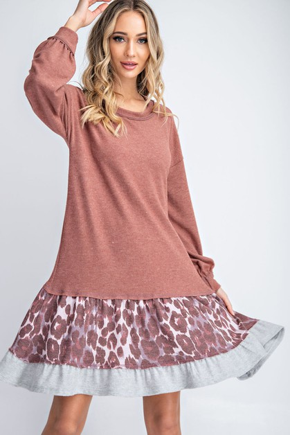 ANIMAL PRINT RUFFLED HEM BALLOON SLE - orangeshine.com