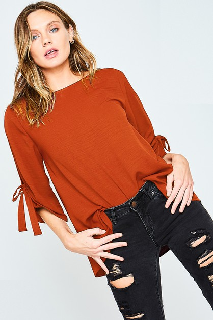 BOW DETAIL SLEEVE TOP - orangeshine.com