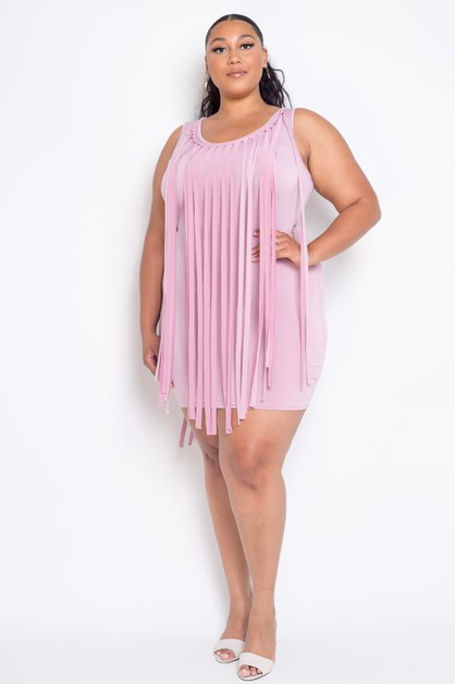 Plus Size Mini Fringe Dress - orangeshine.com