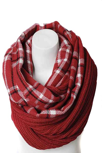 PLAID RIBBED KNIT INFINITY SCARF - orangeshine.com