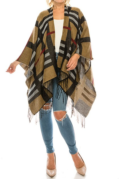 MIX STRIPE PATTERN PONCHO - orangeshine.com